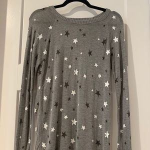 Torrid Knit Gray Stars Long Sleeve Thin Top Sz 12